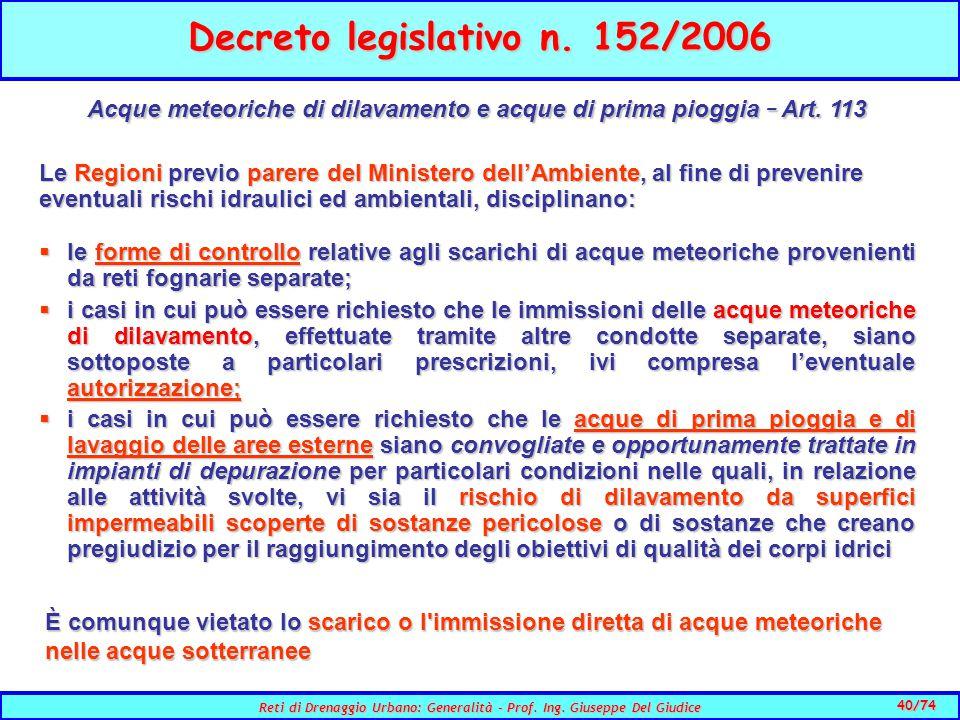 40/74 Reti di Drenaggio Urbano: Generalità - Prof.