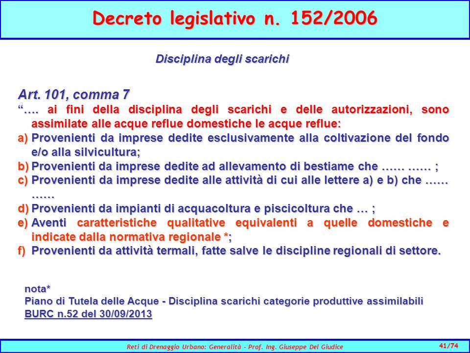 41/74 Reti di Drenaggio Urbano: Generalità - Prof.