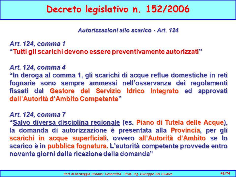 42/74 Reti di Drenaggio Urbano: Generalità - Prof.