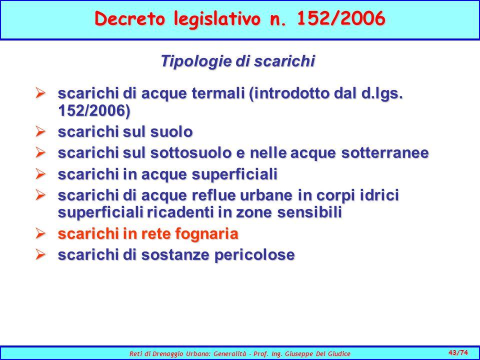 43/74 Reti di Drenaggio Urbano: Generalità - Prof.