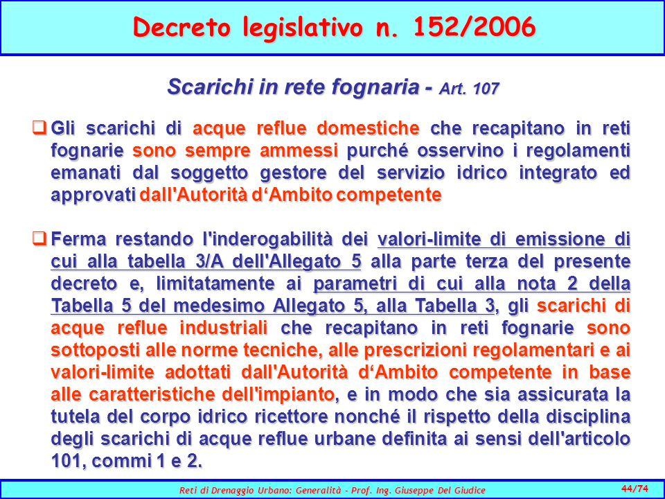 44/74 Reti di Drenaggio Urbano: Generalità - Prof.