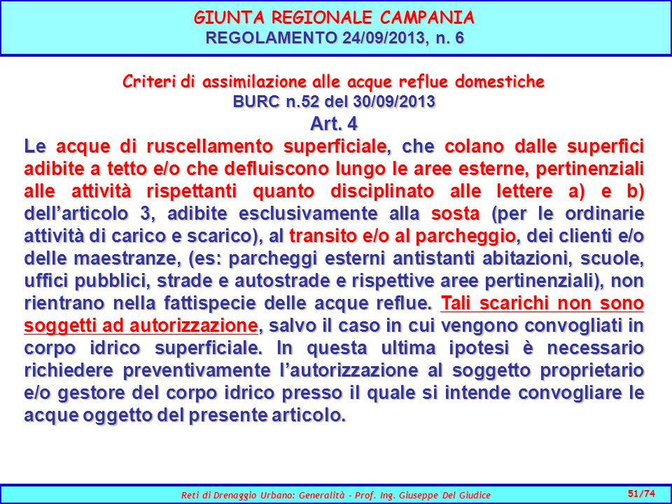 51/74 Reti di Drenaggio Urbano: Generalità - Prof.