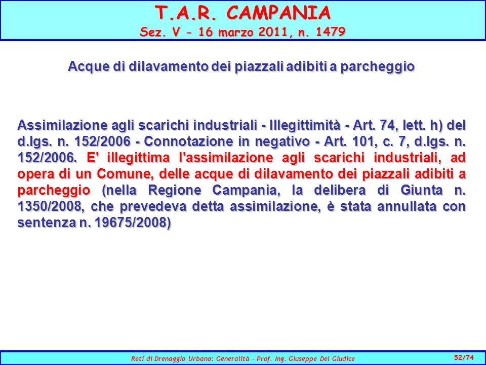 52/74 Reti di Drenaggio Urbano: Generalità - Prof.