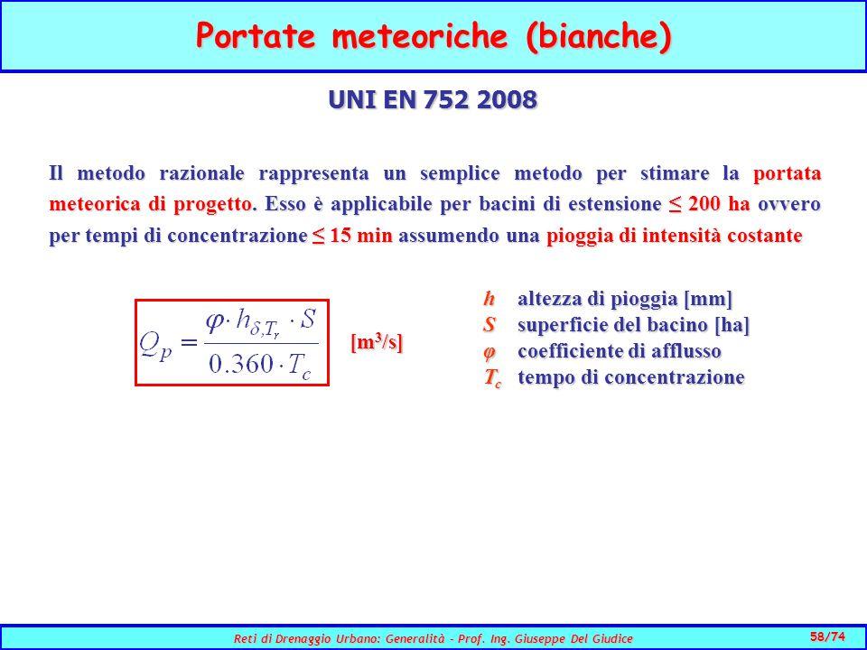 58/74 Reti di Drenaggio Urbano: Generalità - Prof.