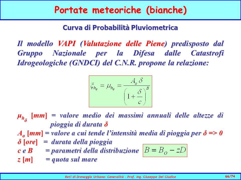 66/74 Reti di Drenaggio Urbano: Generalità - Prof.
