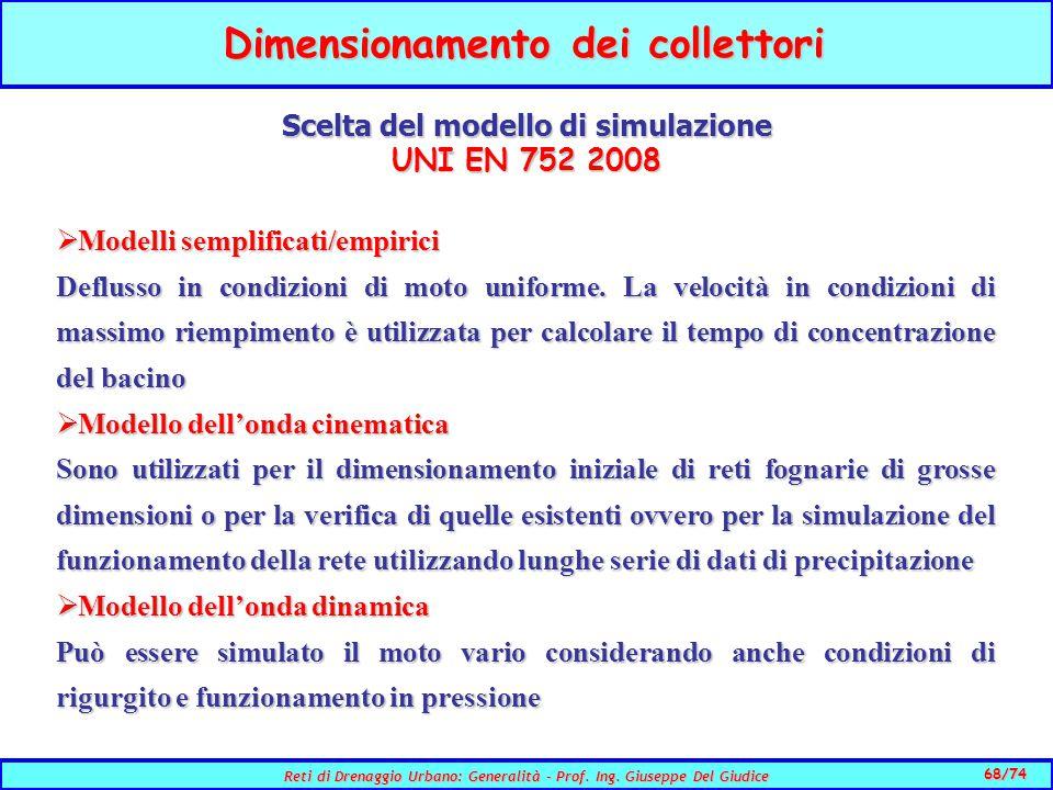 68/74 Reti di Drenaggio Urbano: Generalità - Prof.