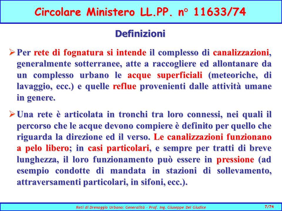 7/74 Reti di Drenaggio Urbano: Generalità - Prof.Ing.