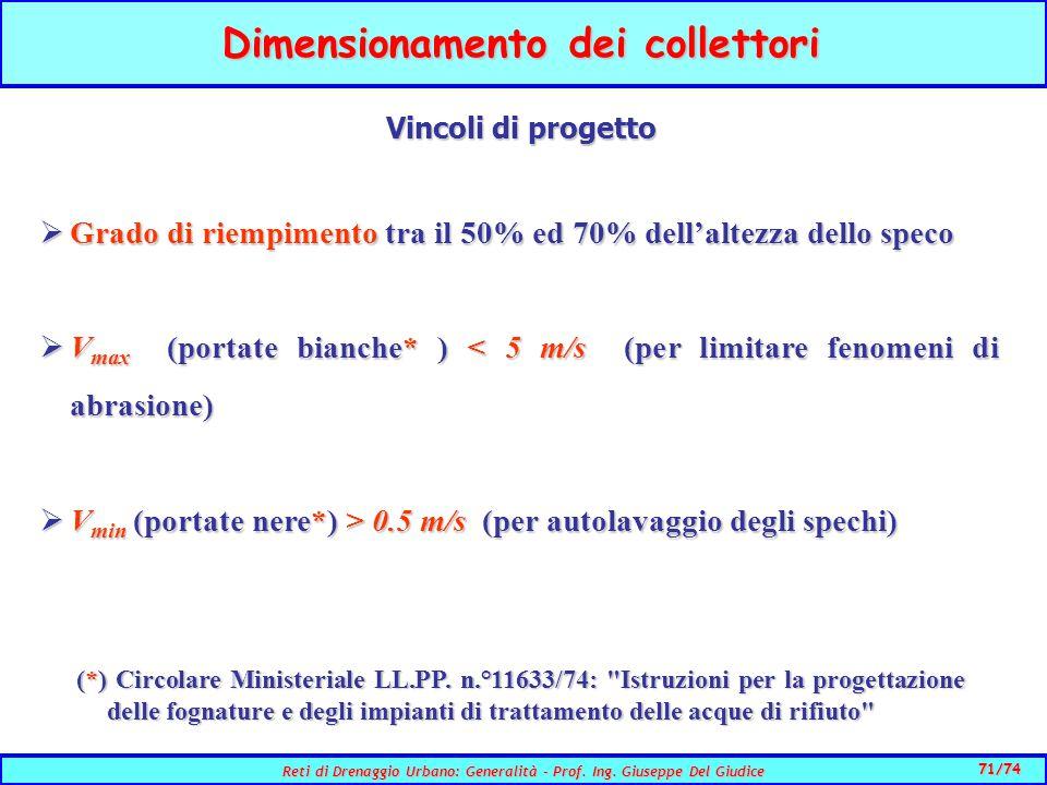 71/74 Reti di Drenaggio Urbano: Generalità - Prof.