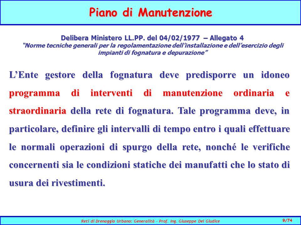 9/74 Reti di Drenaggio Urbano: Generalità - Prof.Ing.