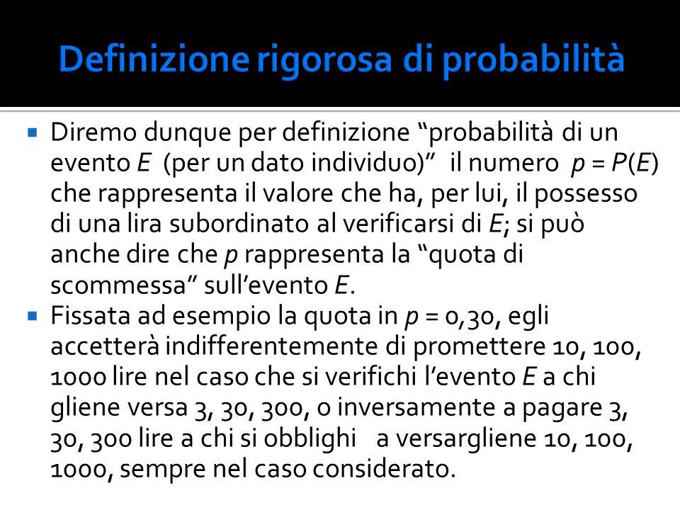 """ Diremo dunque per definizione """"probabilità di un evento E (per un dato individuo)"""" il numero p = P(E) che rappresenta il valore che ha, per lui, il"""