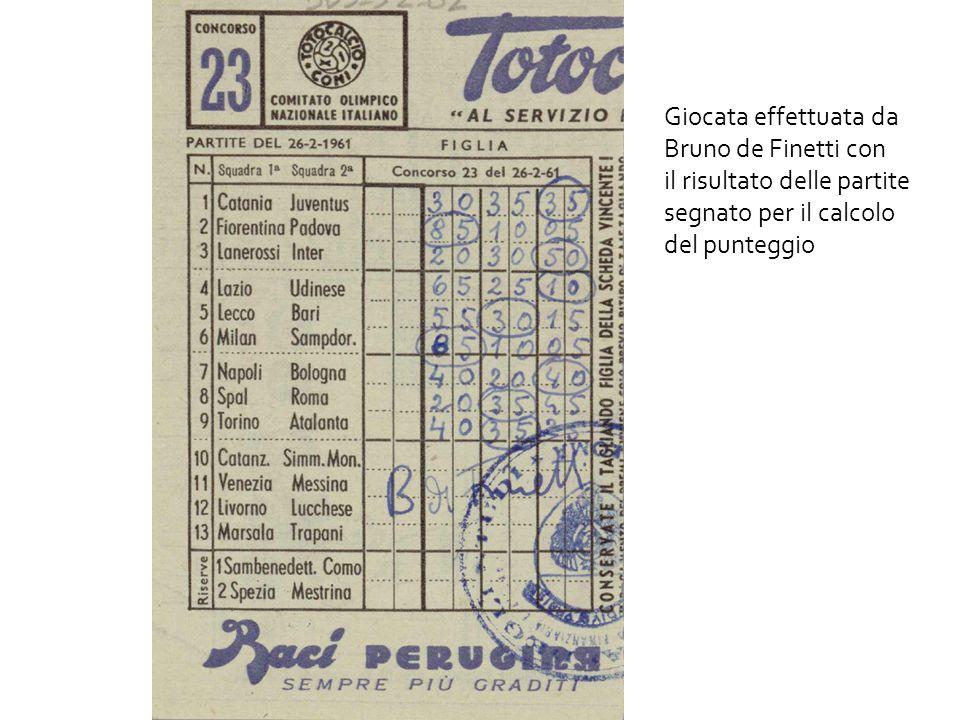 Giocata effettuata da Bruno de Finetti con il risultato delle partite segnato per il calcolo del punteggio