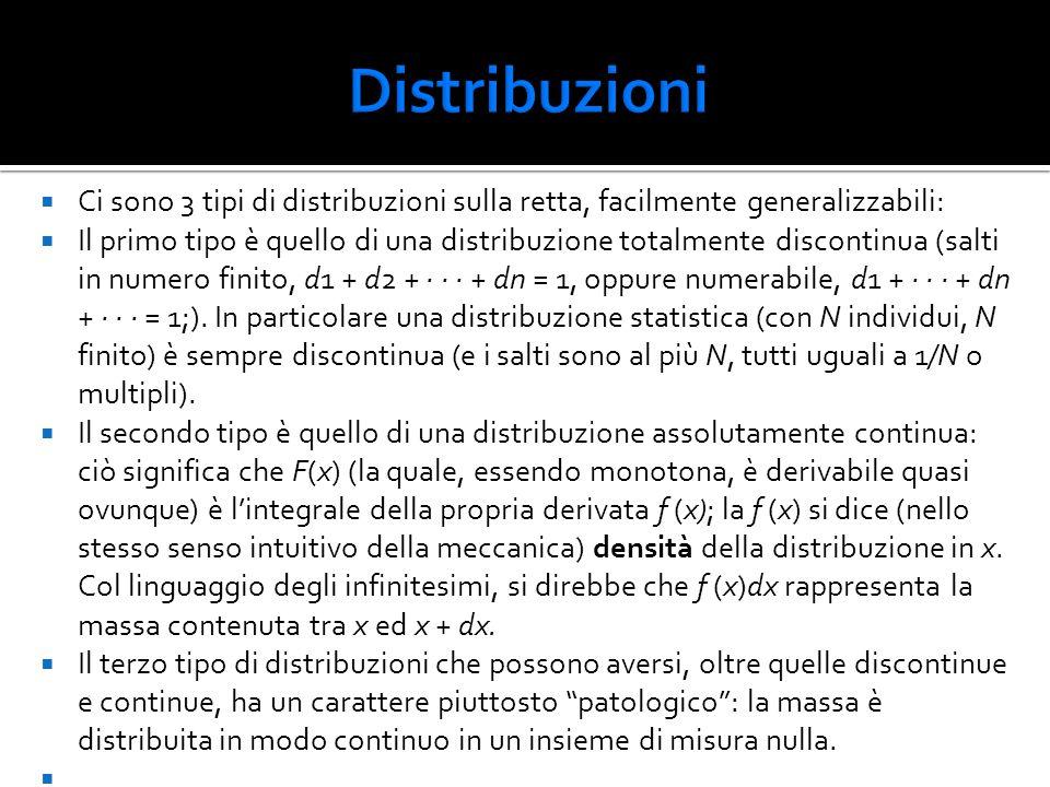  Ci sono 3 tipi di distribuzioni sulla retta, facilmente generalizzabili:  Il primo tipo è quello di una distribuzione totalmente discontinua (salti