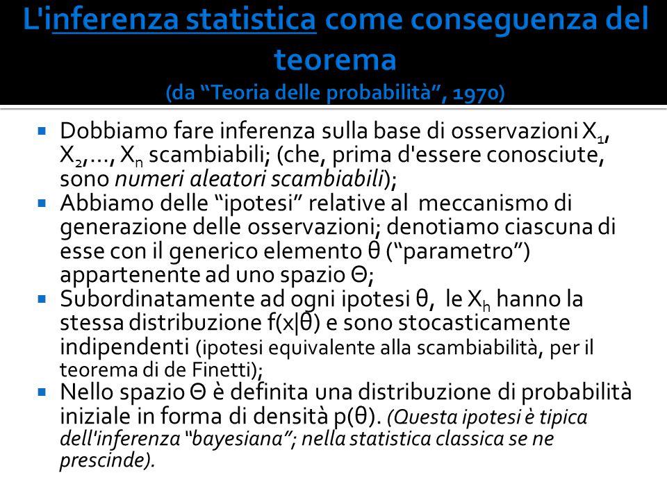  Dobbiamo fare inferenza sulla base di osservazioni X 1, X 2,…, X n scambiabili; (che, prima d'essere conosciute, sono numeri aleatori scambiabili);