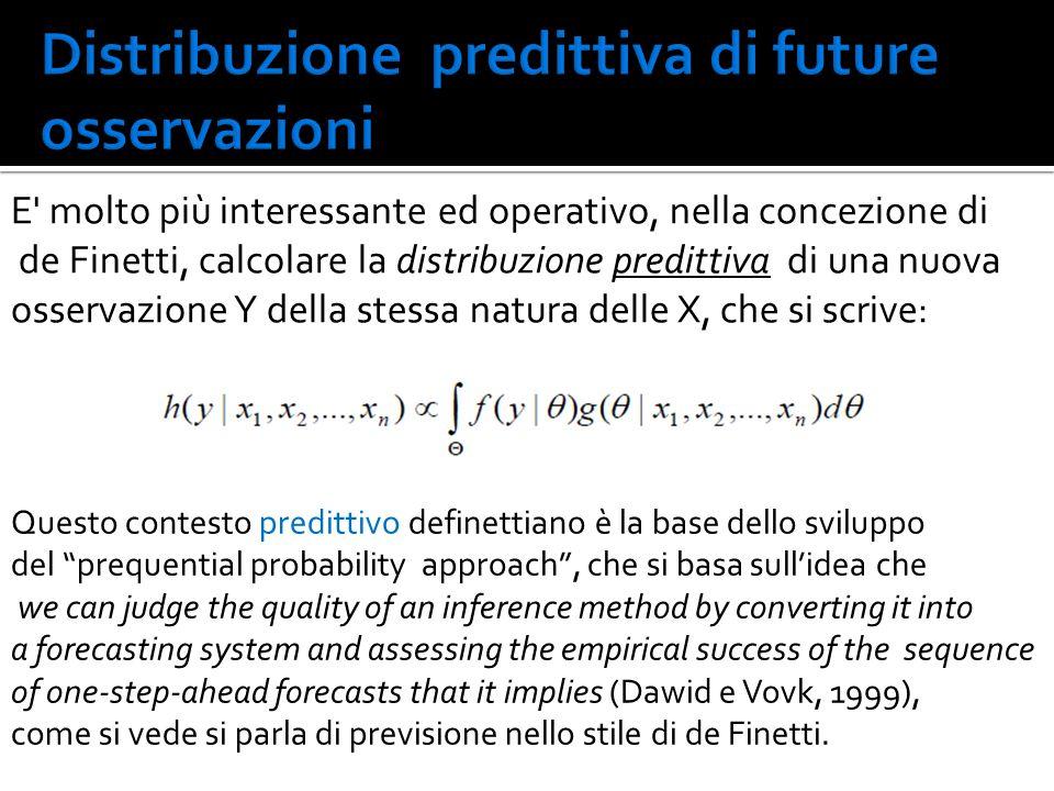 E' molto più interessante ed operativo, nella concezione di de Finetti, calcolare la distribuzione predittiva di una nuova osservazione Y della stessa