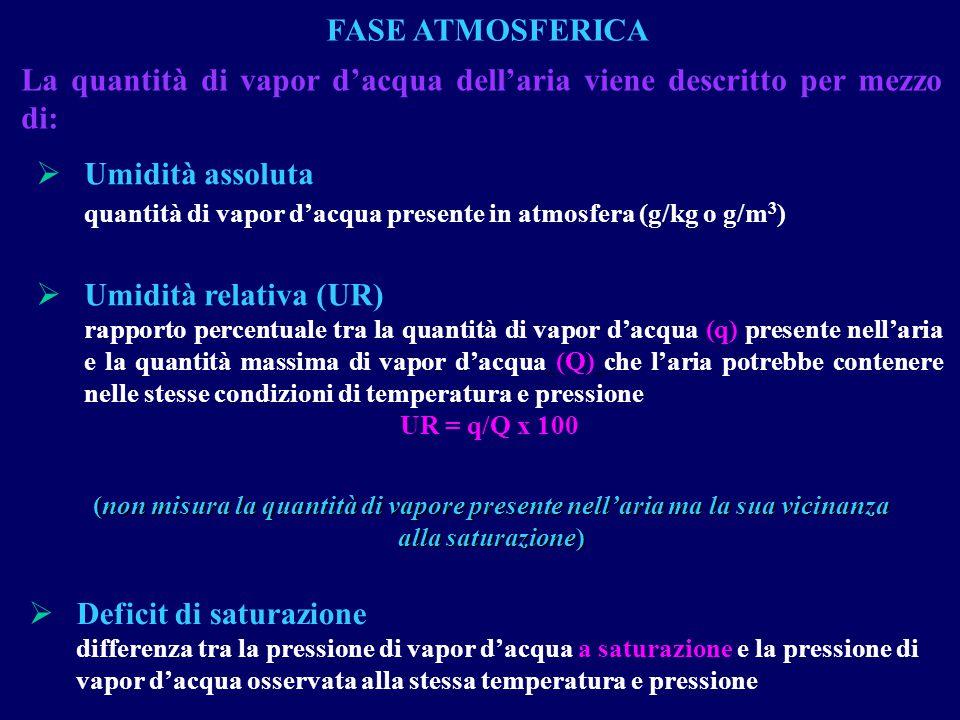 La quantità di vapor d'acqua dell'aria viene descritto per mezzo di:  Umidità assoluta quantità di vapor d'acqua presente in atmosfera (g/kg o g/m 3