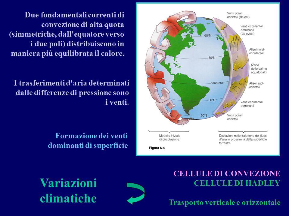 CELLULE DI CONVEZIONE CELLULE DI HADLEY Trasporto verticale e orizzontale Variazioni climatiche Formazione dei venti dominanti di superficie Due fonda
