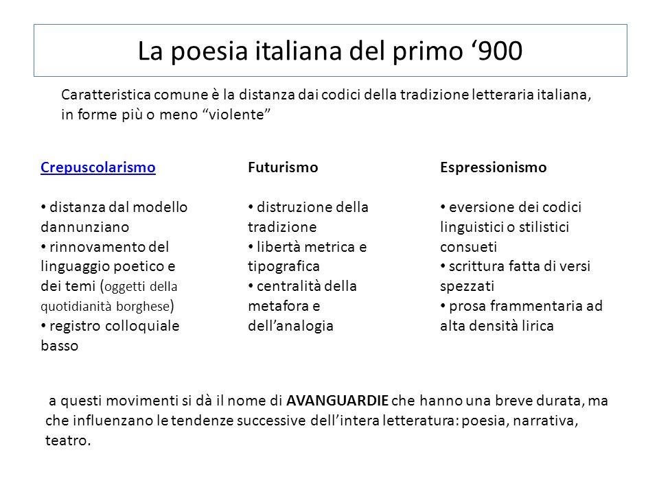 """La poesia italiana del primo '900 Caratteristica comune è la distanza dai codici della tradizione letteraria italiana, in forme più o meno """"violente"""""""