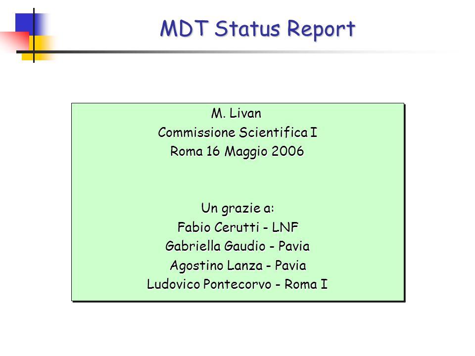 MDT Status Report M. Livan Commissione Scientifica I Roma 16 Maggio 2006 Un grazie a: Fabio Cerutti - LNF Gabriella Gaudio - Pavia Agostino Lanza - Pa