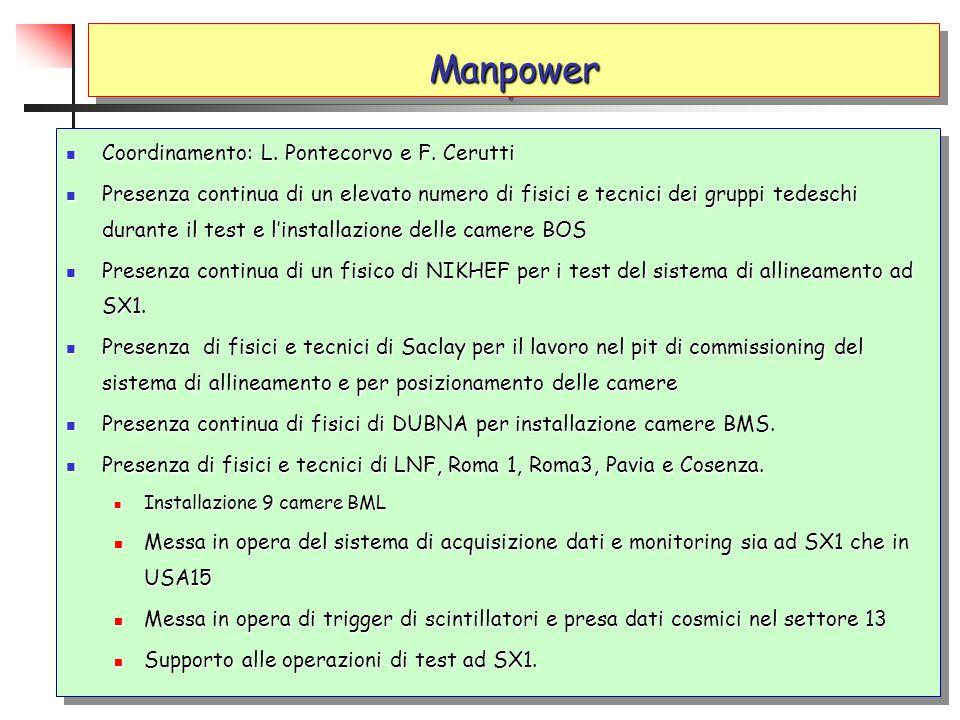 ManpowerManpower Coordinamento: L. Pontecorvo e F. Cerutti Coordinamento: L. Pontecorvo e F. Cerutti Presenza continua di un elevato numero di fisici