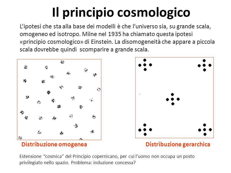 Il principio cosmologico L'ipotesi che sta alla base dei modelli è che l'universo sia, su grande scala, omogeneo ed isotropo. Milne nel 1935 ha chiama