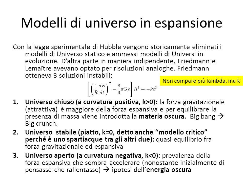 Modelli di universo in espansione Con la legge sperimentale di Hubble vengono storicamente eliminati i modelli di Universo statico e ammessi modelli d