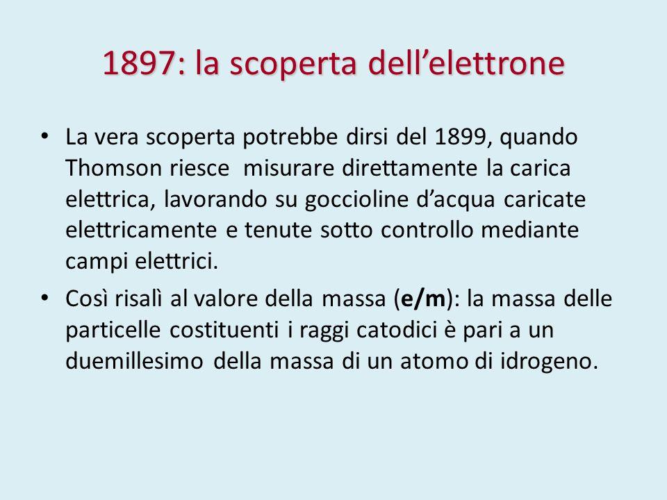 1897: la scoperta dell'elettrone La vera scoperta potrebbe dirsi del 1899, quando Thomson riesce misurare direttamente la carica elettrica, lavorando