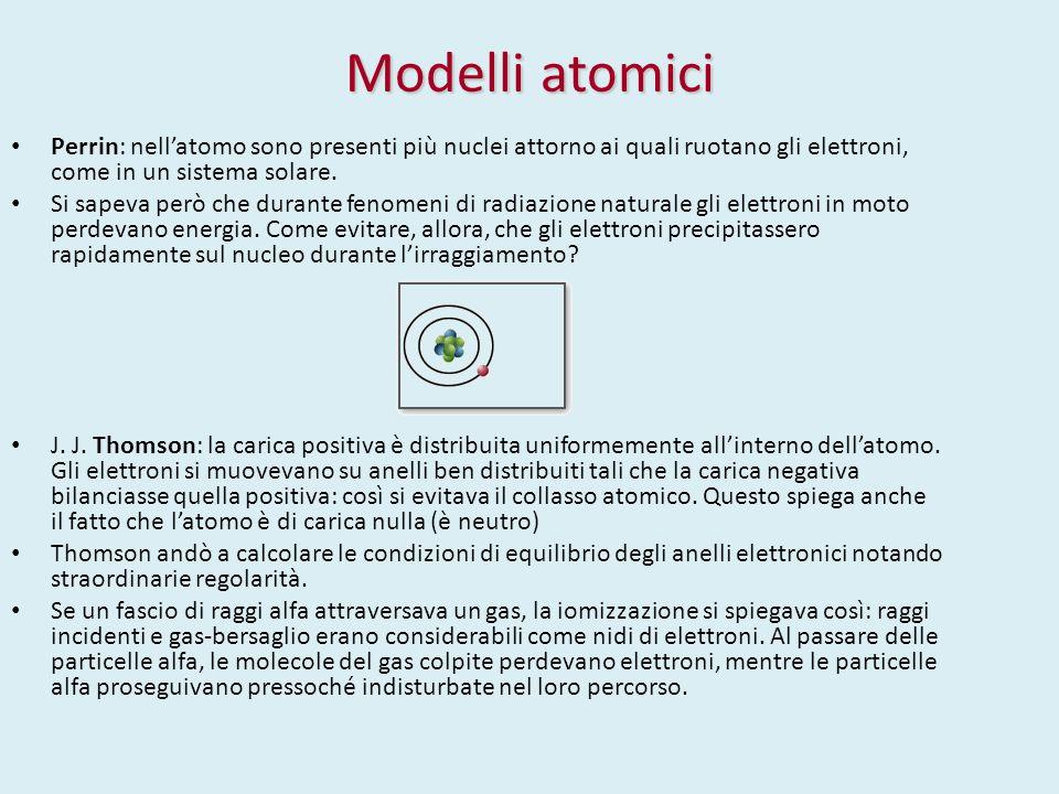 Modelli atomici Perrin: nell'atomo sono presenti più nuclei attorno ai quali ruotano gli elettroni, come in un sistema solare. Si sapeva però che dura