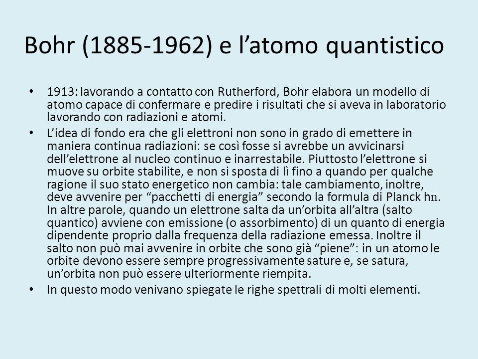 Bohr (1885-1962) e l'atomo quantistico 1913: lavorando a contatto con Rutherford, Bohr elabora un modello di atomo capace di confermare e predire i ri