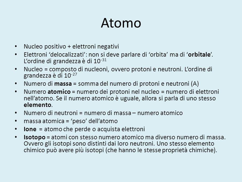 Atomo Nucleo positivo + elettroni negativi Elettroni 'delocalizzati': non si deve parlare di 'orbita' ma di 'orbitale'. L'ordine di grandezza è di 10