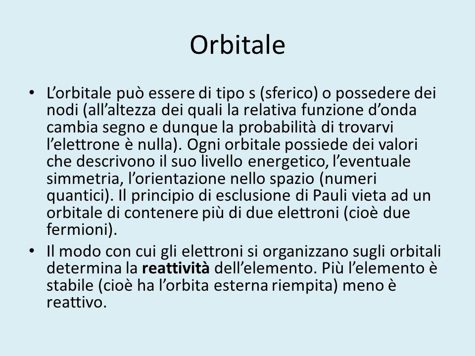 Orbitale L'orbitale può essere di tipo s (sferico) o possedere dei nodi (all'altezza dei quali la relativa funzione d'onda cambia segno e dunque la pr