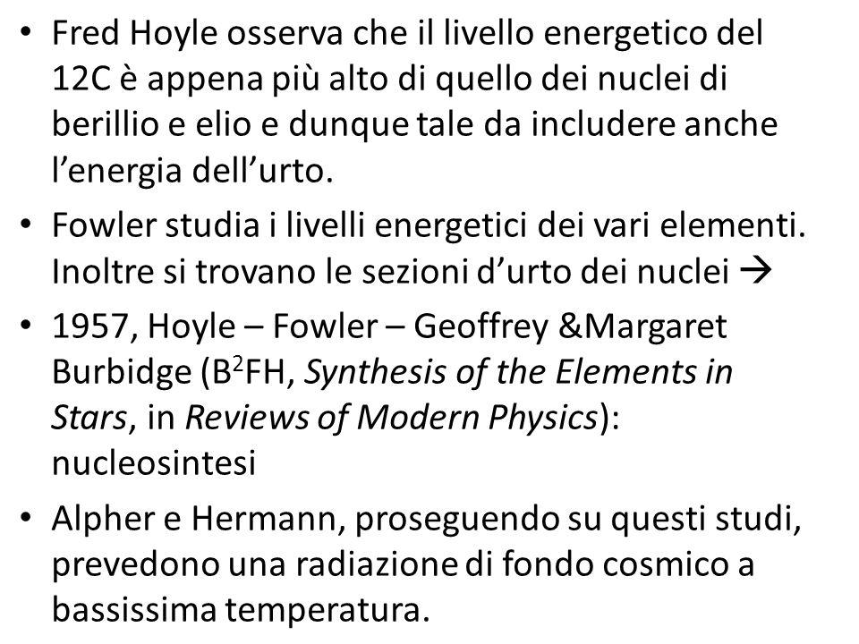 Fred Hoyle osserva che il livello energetico del 12C è appena più alto di quello dei nuclei di berillio e elio e dunque tale da includere anche l'ener