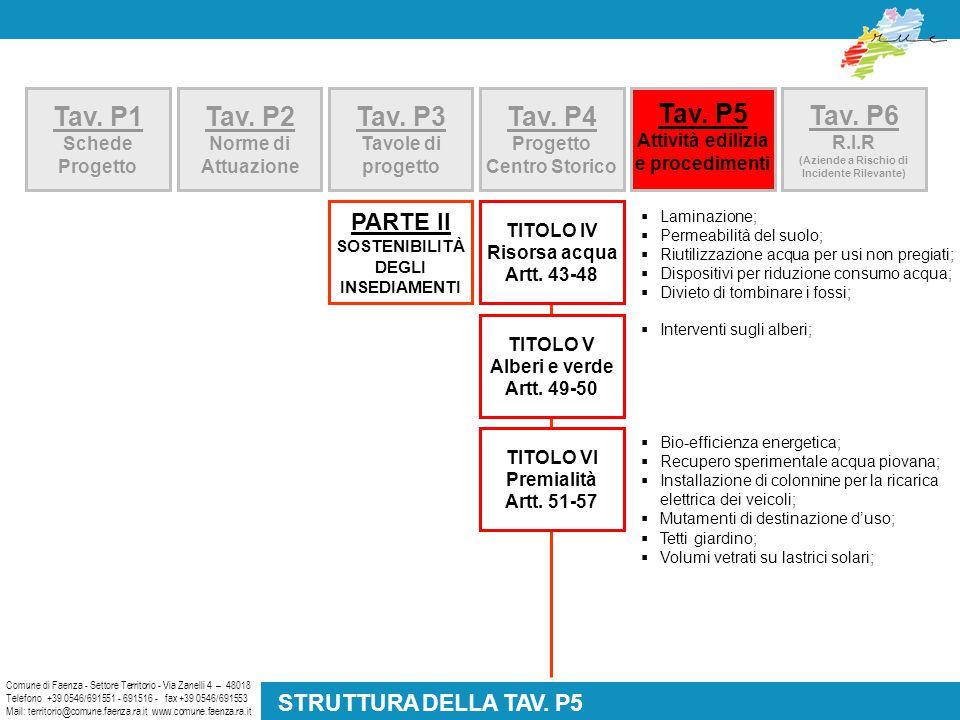Tav. P5 Attività edilizia e procedimenti Comune di Faenza - Settore Territorio - Via Zanelli 4 – 48018 Telefono +39 0546/691551 - 691516 - fax +39 054