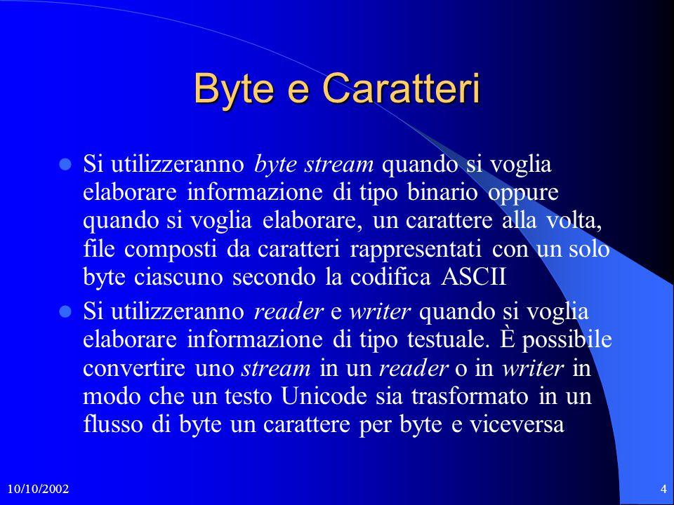 10/10/200215 Copia.java import java.io.*; public class Copia { public static void main (String[] arg) throws IOException {InputStreamReader lettore = new InputStreamReader(System.in); BufferedReader in = new BufferedReader(lettore); String str = in.readLine(); while (str != null) { System.out.println(str); str = in.readLine(); } $ java Copia $ java Copia >nomeFile $ java Copia <nomeFile $ java Copia f2