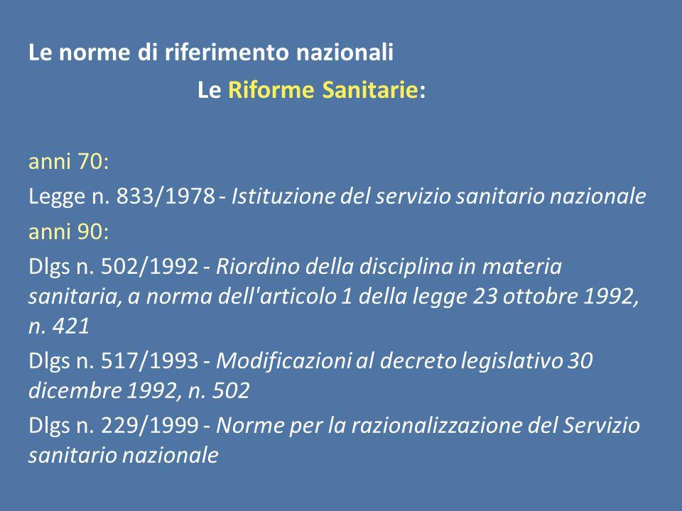 Le norme di riferimento nazionali Le Riforme Sanitarie: anni 70: Legge n.