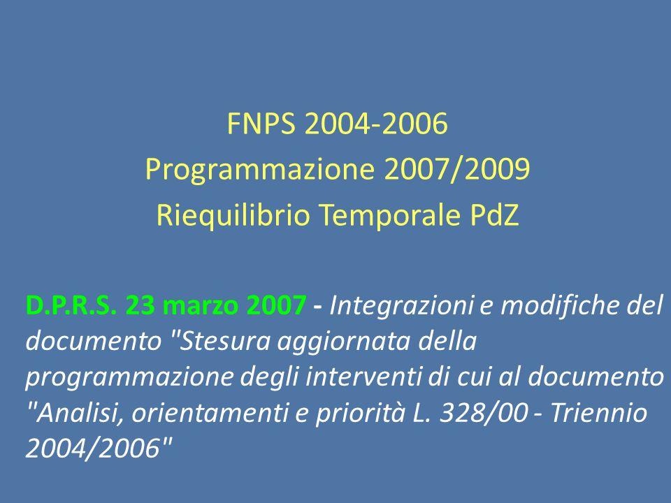 FNPS 2004-2006 Programmazione 2007/2009 Riequilibrio Temporale PdZ D.P.R.S.