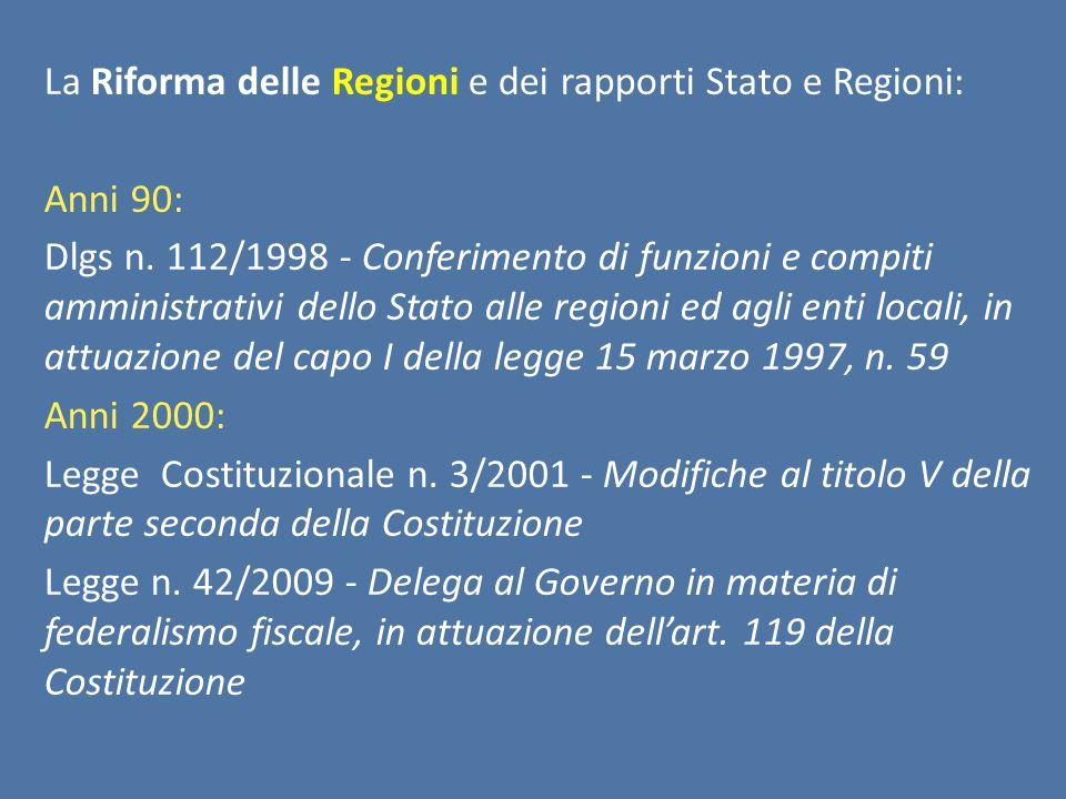 La Riforma delle Regioni e dei rapporti Stato e Regioni: Anni 90: Dlgs n.