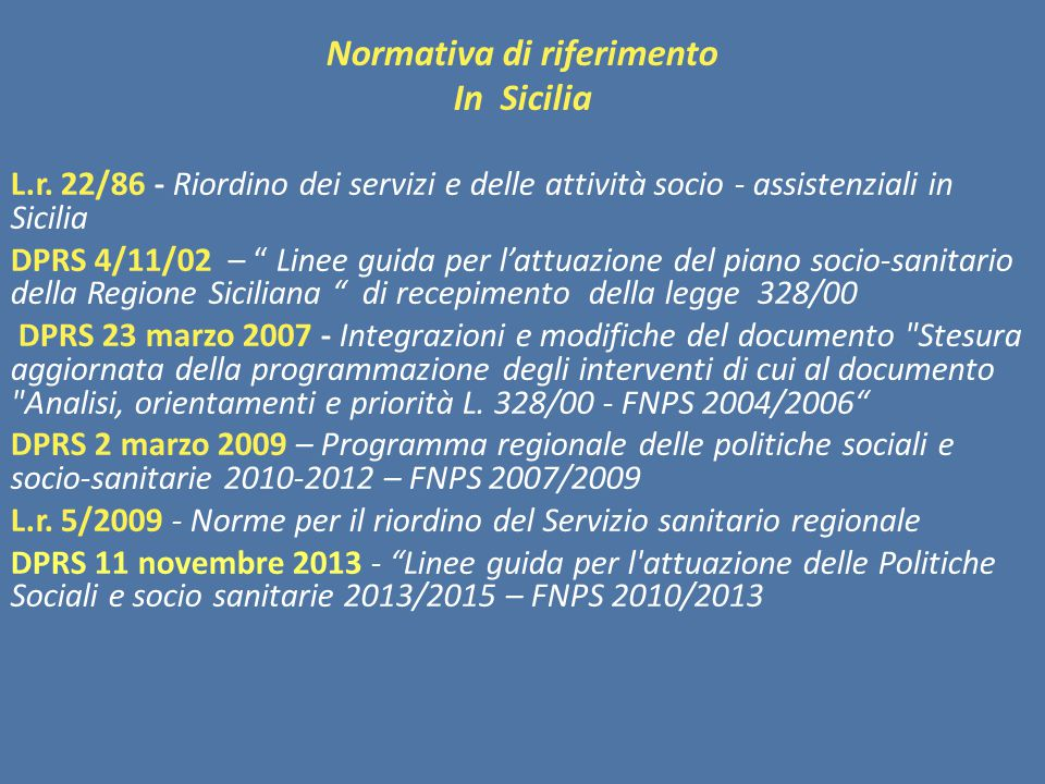 Normativa di riferimento In Sicilia L.r.