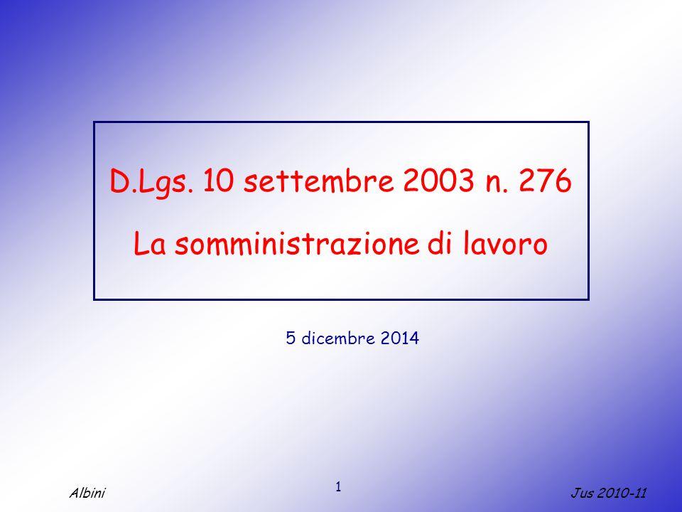 1 Jus 2010-11Albini D.Lgs. 10 settembre 2003 n. 276 La somministrazione di lavoro 5 dicembre 2014