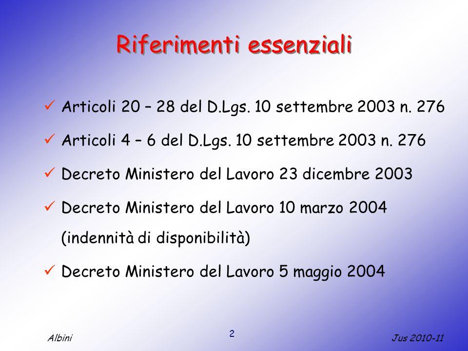 2 Jus 2010-11Albini Riferimenti essenziali Articoli 20 – 28 del D.Lgs.
