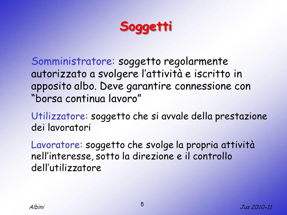 5 Jus 2010-11Albini Soggetti Somministratore: soggetto regolarmente autorizzato a svolgere l'attività e iscritto in apposito albo.