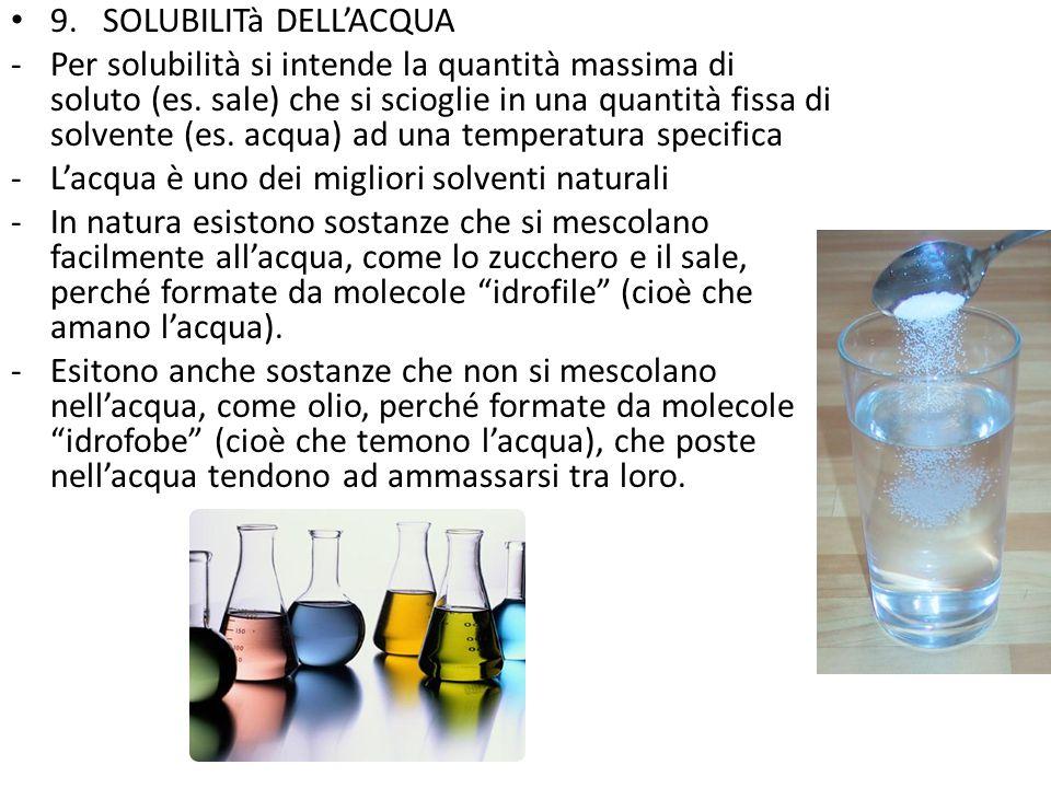 9. SOLUBILITà DELL'ACQUA -Per solubilità si intende la quantità massima di soluto (es. sale) che si scioglie in una quantità fissa di solvente (es. ac