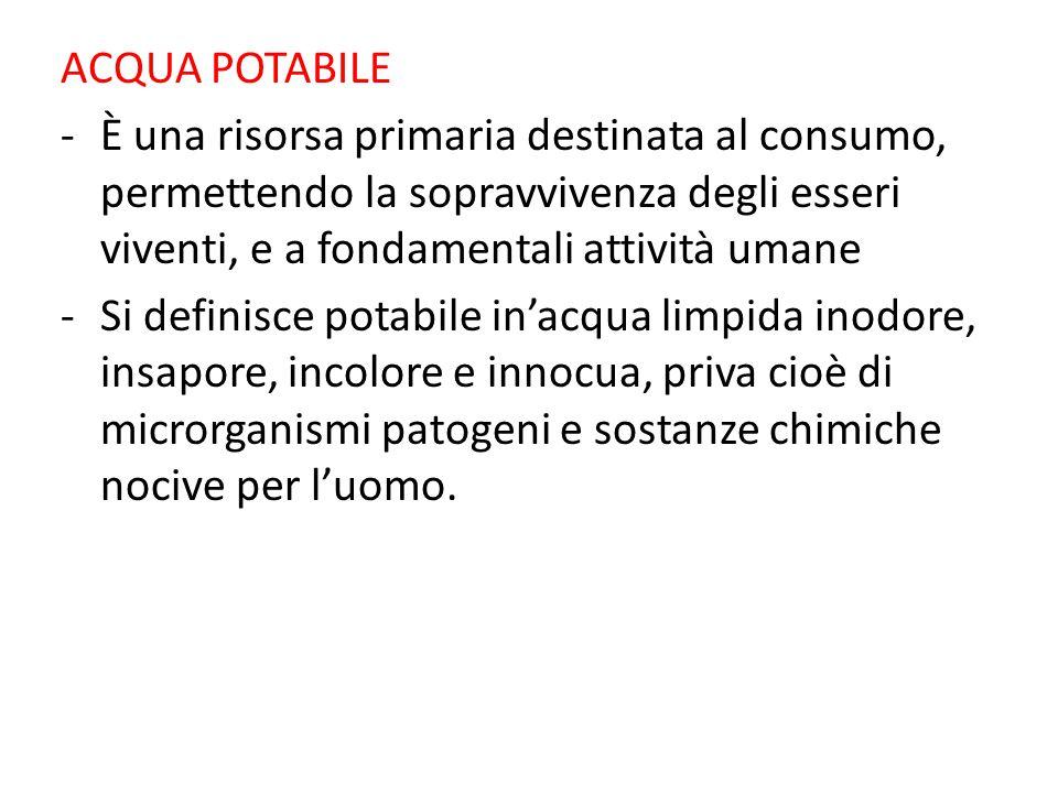 ACQUA POTABILE -È una risorsa primaria destinata al consumo, permettendo la sopravvivenza degli esseri viventi, e a fondamentali attività umane -Si de