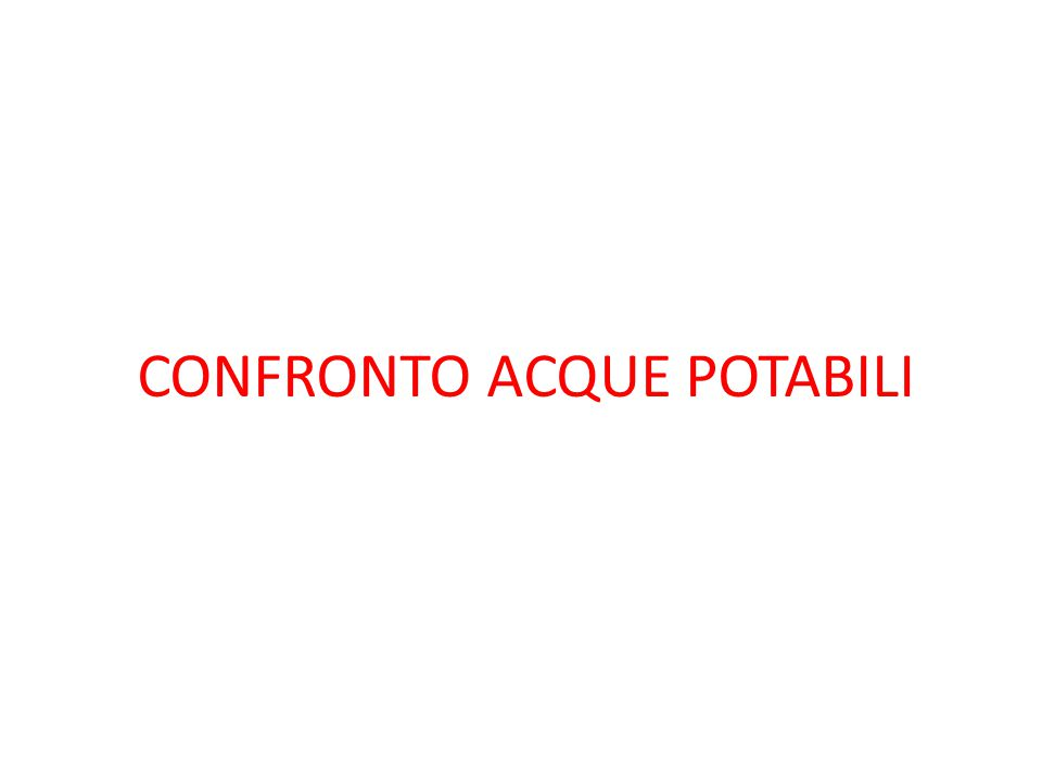 CONFRONTO ACQUE POTABILI