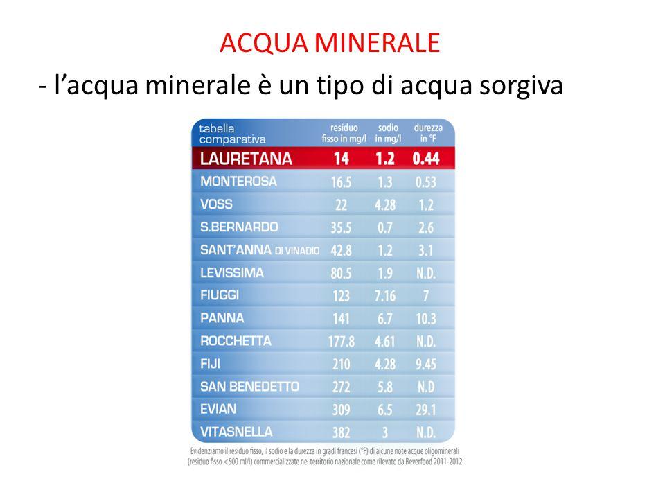 ACQUA MINERALE - l'acqua minerale è un tipo di acqua sorgiva