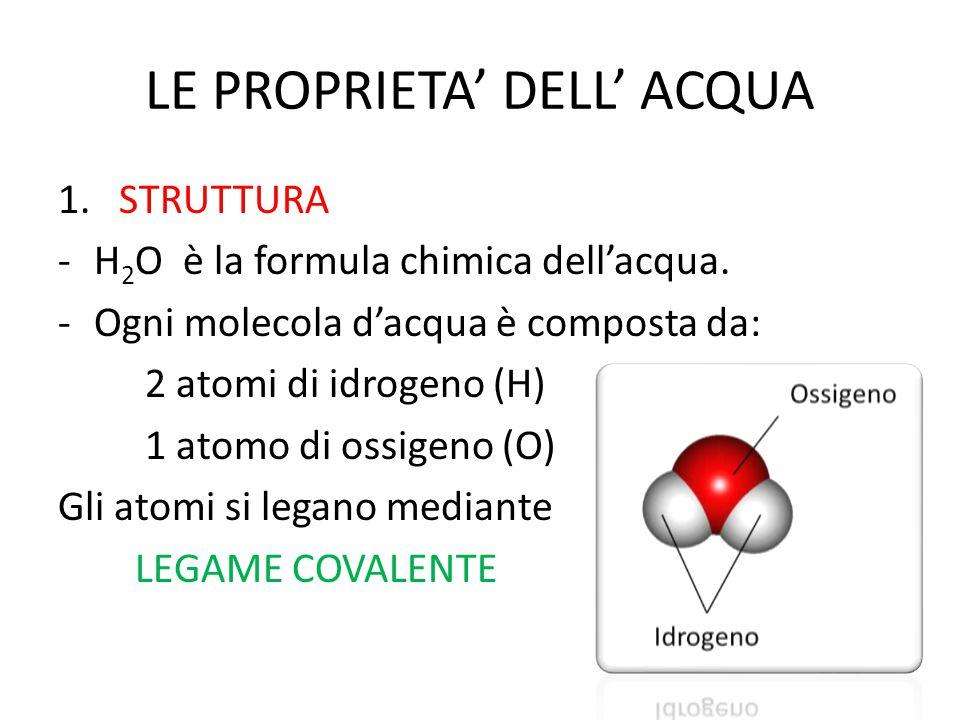 LE PROPRIETA' DELL' ACQUA 1. STRUTTURA -H 2 O è la formula chimica dell'acqua. -Ogni molecola d'acqua è composta da: 2 atomi di idrogeno (H) 1 atomo d