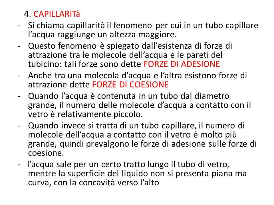 4. CAPILLARITà -Si chiama capillarità il fenomeno per cui in un tubo capillare l'acqua raggiunge un altezza maggiore. -Questo fenomeno è spiegato dall