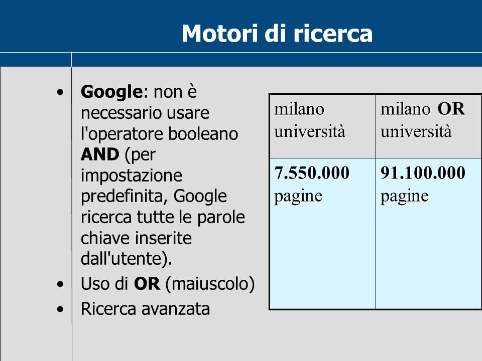 Operatori booleani Dove si usano Nelle formule di Excel Nella riga dei criteri nelle query di Access Nei motori di ricerca in Internet Nei linguaggi d