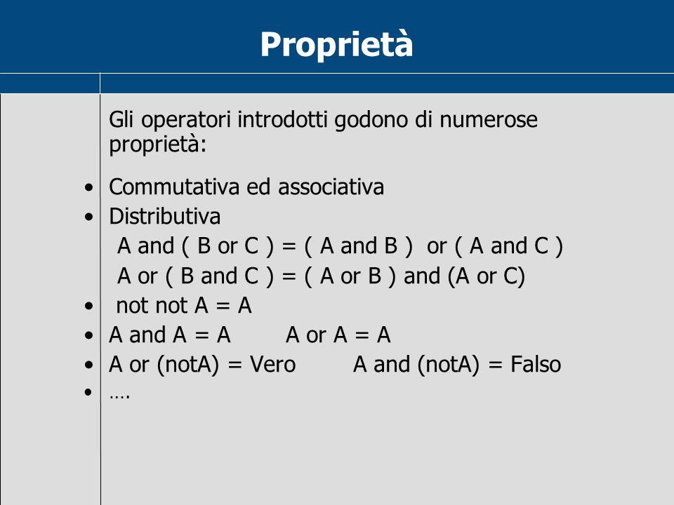 Proprietà Gli operatori introdotti godono di numerose proprietà: Commutativa ed associativa Distributiva A and ( B or C ) = ( A and B ) or ( A and C ) A or ( B and C ) = ( A or B ) and (A or C) not not A = A A and A = AA or A = A A or (notA) = VeroA and (notA) = Falso ….