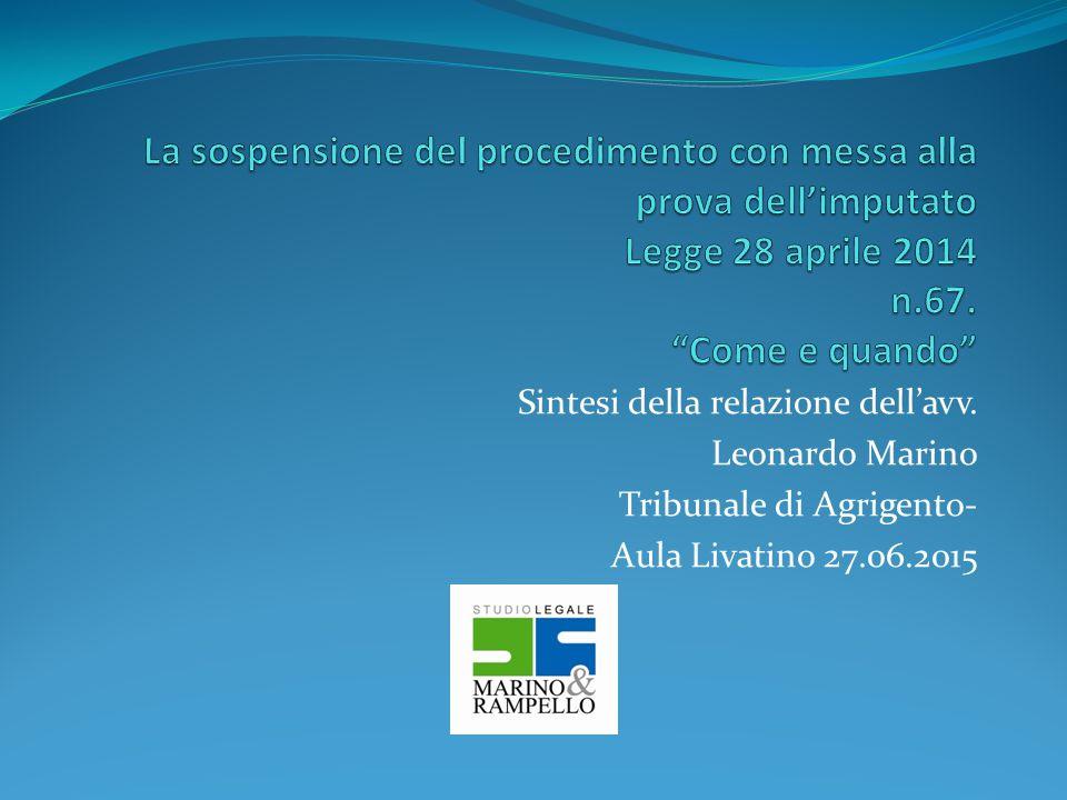Sintesi della relazione dell'avv. Leonardo Marino Tribunale di Agrigento- Aula Livatino 27.06.2015
