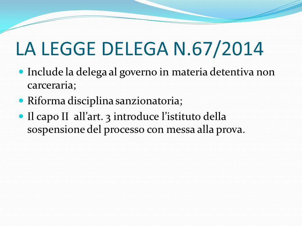 LA LEGGE DELEGA N.67/2014 Include la delega al governo in materia detentiva non carceraria; Riforma disciplina sanzionatoria; Il capo II all'art.